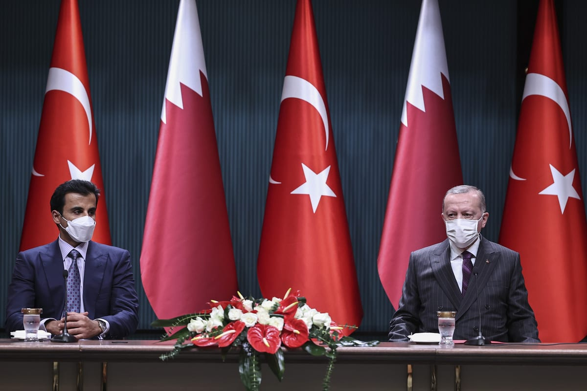President of Turkey, Recep Tayyip Erdogan (R) and Qatari Emir Sheikh Tamim bin Hamad al-Thani (L) in Ankara, Turkey on November 26, 2020 [Emin Sansar/Anadolu Agency]