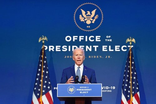 US President-elect Joe Biden in Wilmington, Delaware, on 9 November 2020 [ANGELA WEISS/AFP/Getty Images]
