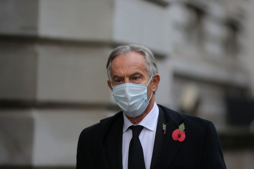 Former UK Prime Minister, Tony Blair arrives at Downing Street to attend the Remembrance Sunday ceremony in Whitehall, London, United Kingdom on November 8, 2020 [Tayfun Salci/Anadolu Agency]