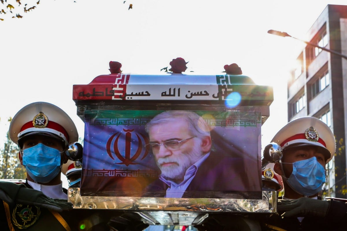 A funeral ceremony for Iranian nuclear scientist, Mohsen Fakhrizadeh Mahabadi, held in Tehran, Iran on 30 November 2020 [Iranian Defense Ministry/Anadolu Agency]