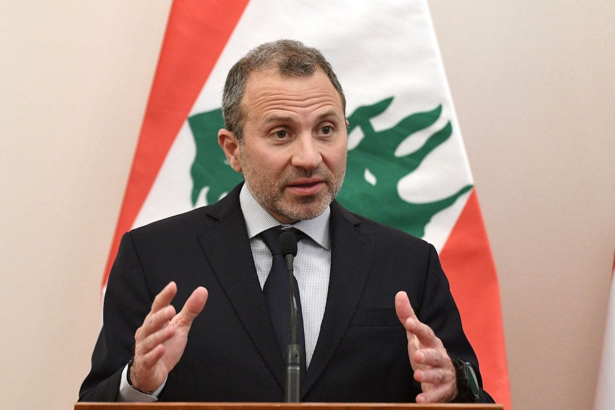 Former Lebanese Foreign Minister Gebran Bassil address a press conference after a signing ceremony of a diplomatic cooperation agreement at the Trade Minstry in Budapest on 26 November 2019. [ATTILA KISBENEDEK/AFP via Getty Images]