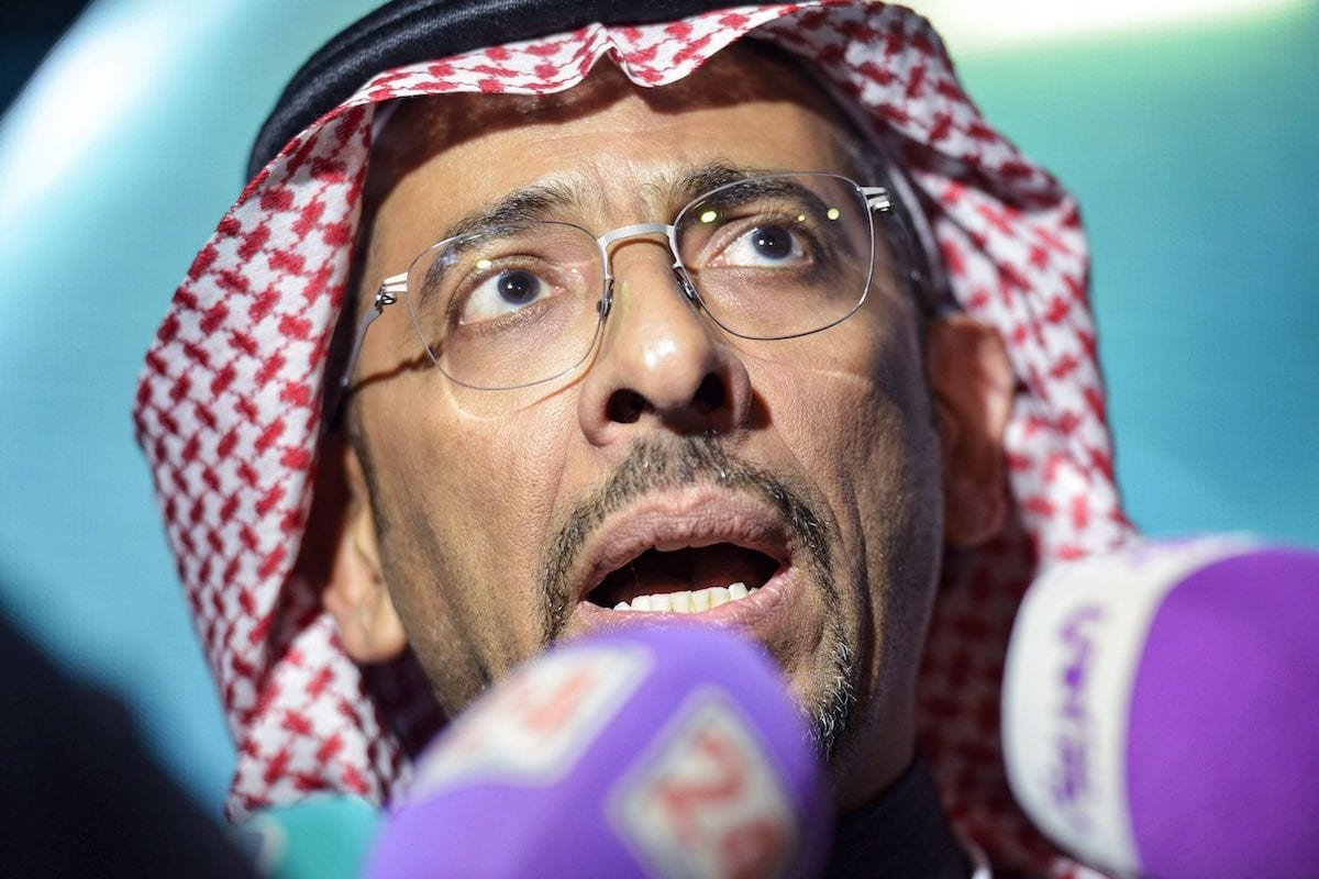 Saudi Minister of Industry and Mineral Resources Bandar al-Khorayef speaks to reporters during the 2020 Railway Forum, organised by the Saudi Railways Company, in the capital Riyadh on 28 January 2020. [FAYEZ NURELDINE/AFP via Getty Images]