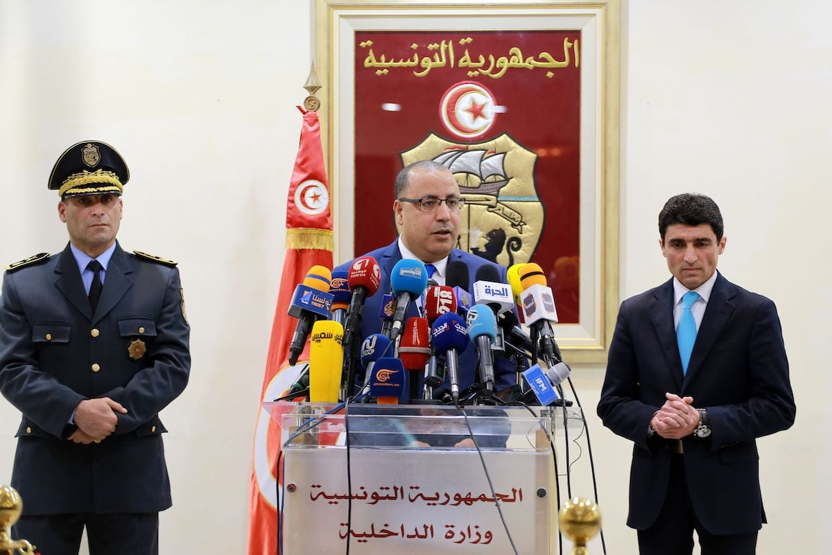 Hichem Mechichi, Tunisia's Prime Minister and former Interior Minister, speaks during a press conference at the ministry headquarters in the capital Tunis on 6 March 2020. [ANIS MILI/AFP via Getty Images]