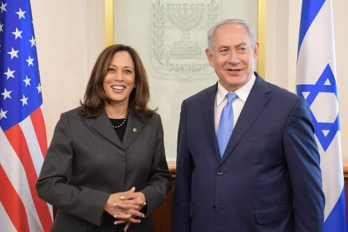 US Vice-President Kamala Harris (L) and Israeli Prime Minister, Benjamin Netanyahu (R)