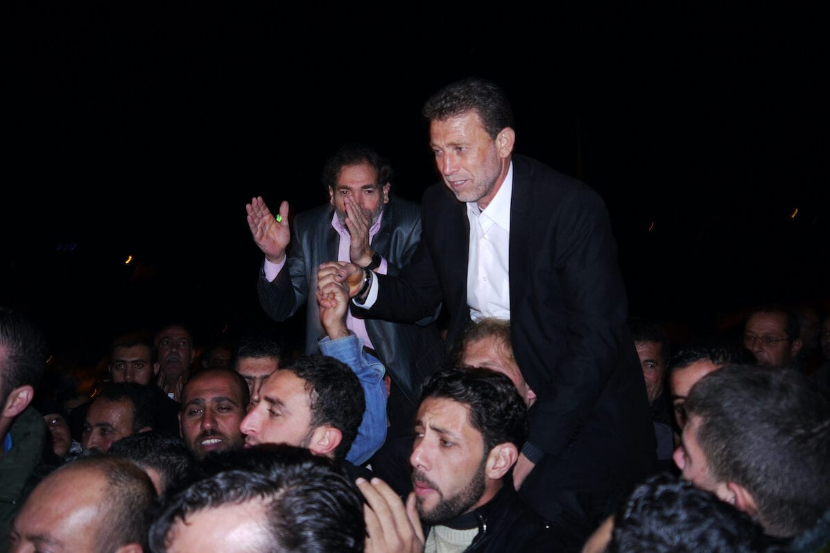 Palestinian freed prisoner Nael Barghouti during his wedding, in the West Bank city of Ramallah on 18 November 2011. [Issam Rimawi/Apaimages]
