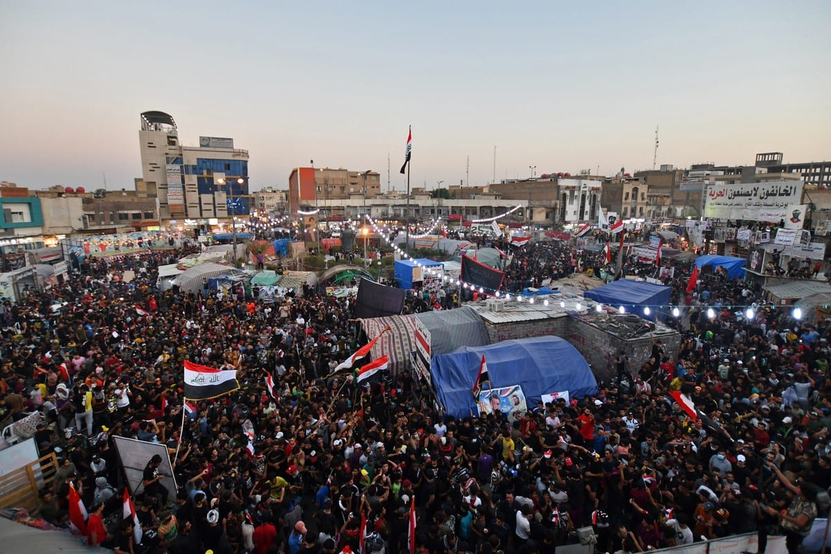 Iraqi protesters start a sit-in in Dhi Qar, Iraq on 25 October 2020 [ASAAD NIAZI/AFP/Getty Images]