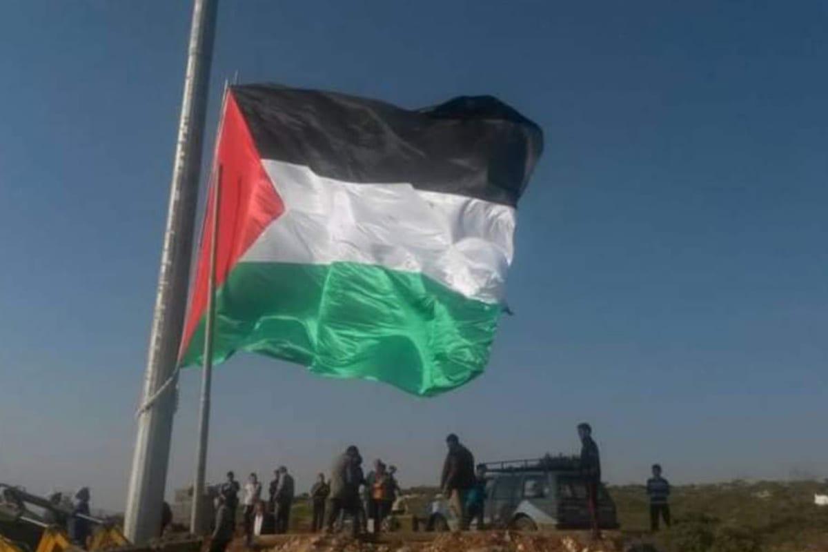 A large Palestinian flagpole in Sebastia, West Bank on 5 November 2020 [PalEnglishExtra/Twitter]