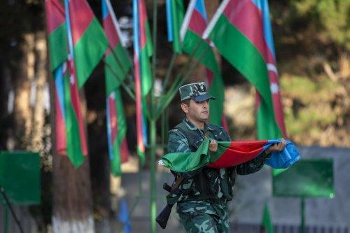 Azerbaijani military officers in Zangilan, Azerbaijan on 8 November 2020 [Arif Hüdaverdi Yaman/Anadolu Agency]