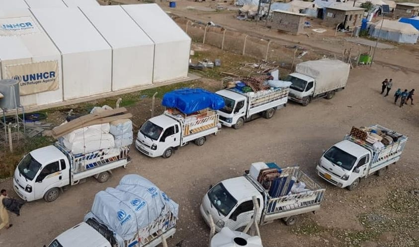 Loaded trucks are seen in Kirkuk, Iraq on November 30, 2020 after the closure of all camps for tens of thousands of internally displaced Iraqis, who fled the attacks of Daesh terror groups 6.5 years ago. [Kirkuk Dir. of Displ. and Migration - Anadolu Agency]