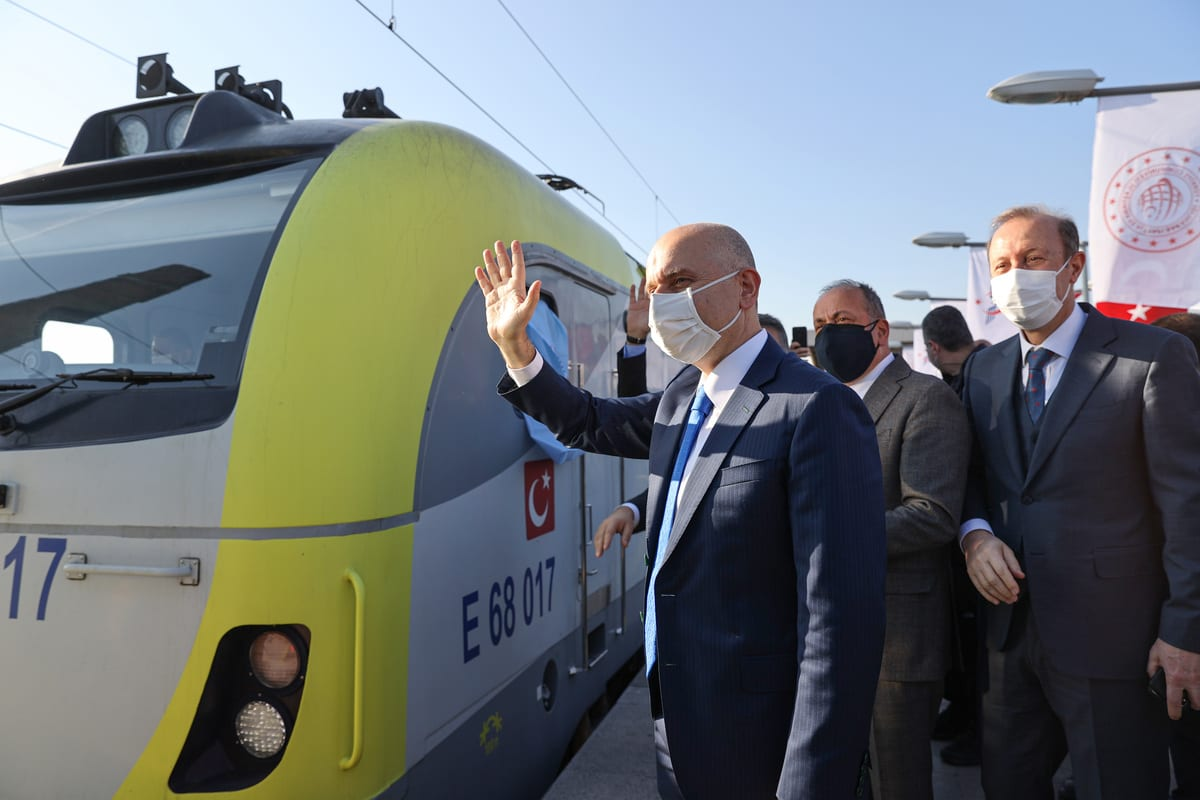 Turkish Minister of Transport and Infrastructure Adil Karaismailoglu attends a farewell ceremony of the first export train carrying export products to China which will travel 8,693 kilometers, at Kazlicesme Station in Istanbul, Turkey on 4 December 2020. [Muhammed Enes Yıldırım - Anadolu Agency]