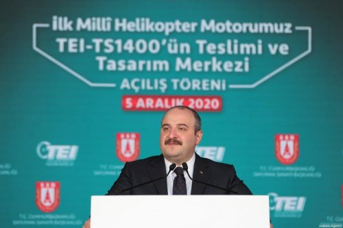 Turkish Industry and Technology Minister, Mustafa Varank attends the opening ceremony of delivery and design centre for the first indigenous helicopter engine TEI-TS1400, on December 05, 2020 in Eskisehir, Turkey [Raşid Necati Aslım / Anadolu Agency]