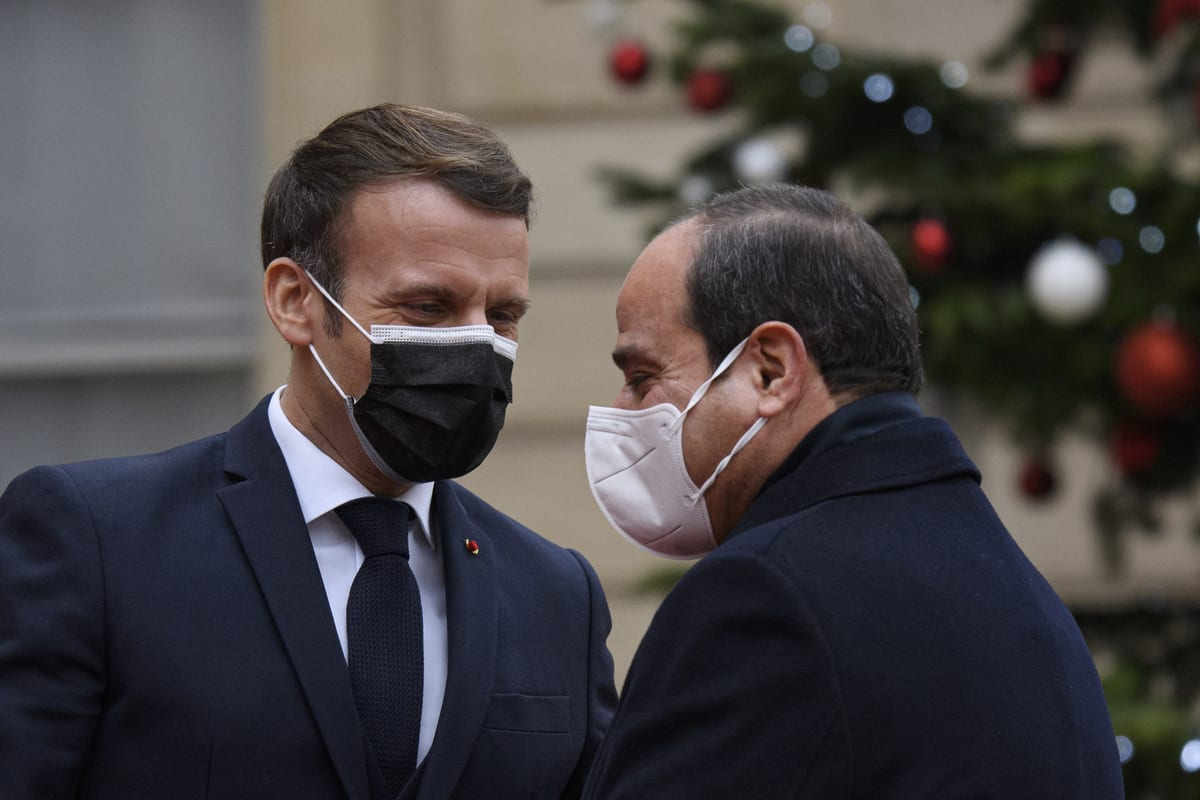 President of France, Emmanuel Macron (L) welcomes President of Egypt, Abdel Fattah Al-Sisi (R) prior to talks at the Elysee Palace, in Paris, France on 7 December 2020. [Julien Mattia - Anadolu Agency]