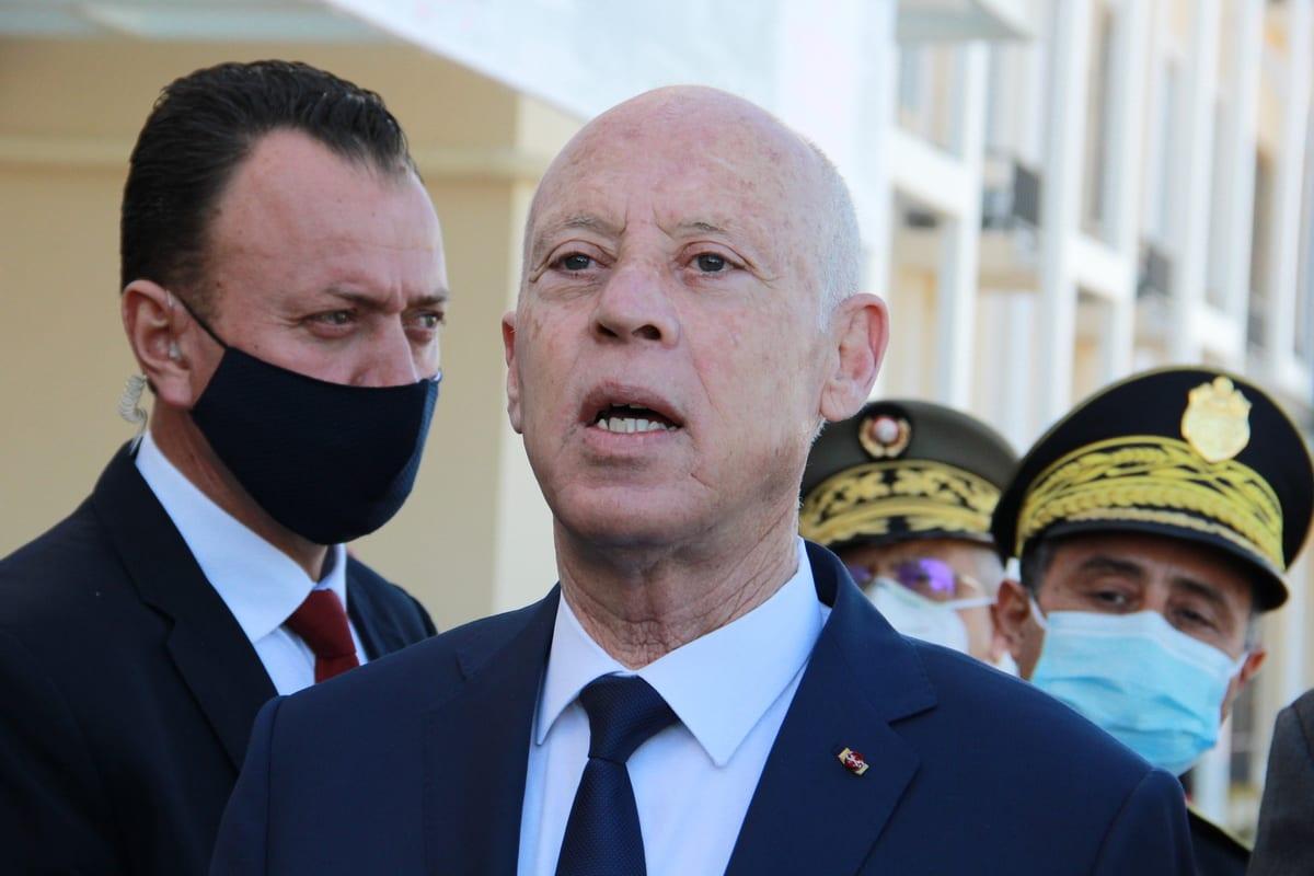 President of Tunisia Kais Saied (C) in Sfax, Tunisia on 10 December 2020 [Houssem Zouari/Anadolu Agency]