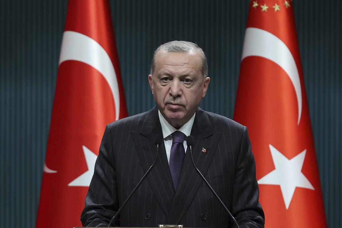 President of Turkey Recep Tayyip Erdogan makes statements after chairing Cabinet meeting, in Ankara, Turkey on December 14, 202 [Doğukan Keskinkılıç / Anadolu Agency]