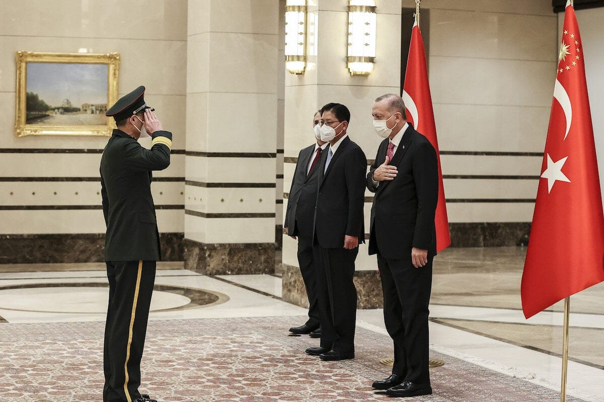 ANKARA, TURKEY - DECEMBER 15: Chinese Ambassador to Ankara, Liu Shaobin (2nd R) is seen after presenting the letter of credence to President of Turkey, Recep Tayyip Erdogan (R) at the Presidential Complex in Ankara, Turkey on December 15, 2020. ( Emin Sansar - Anadolu Agency )
