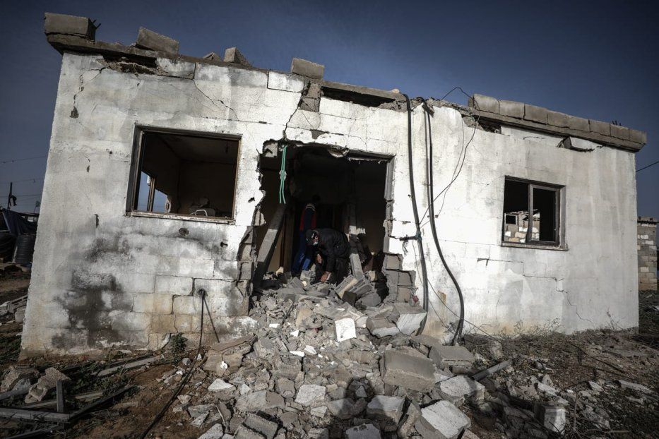 GAZA CITY, GAZA - DECEMBER 15: A view of demolished Palestinian family's house is seen after Israeli artillery shell hit it as the members of An-Nasr family were not luckily at home during the attack in Hajar al-Dik village, Gaza City, Gaza on December 15, 2020. After the attack the house becomes dysfunctional. ( Ali Jadallah - Anadolu Agency )