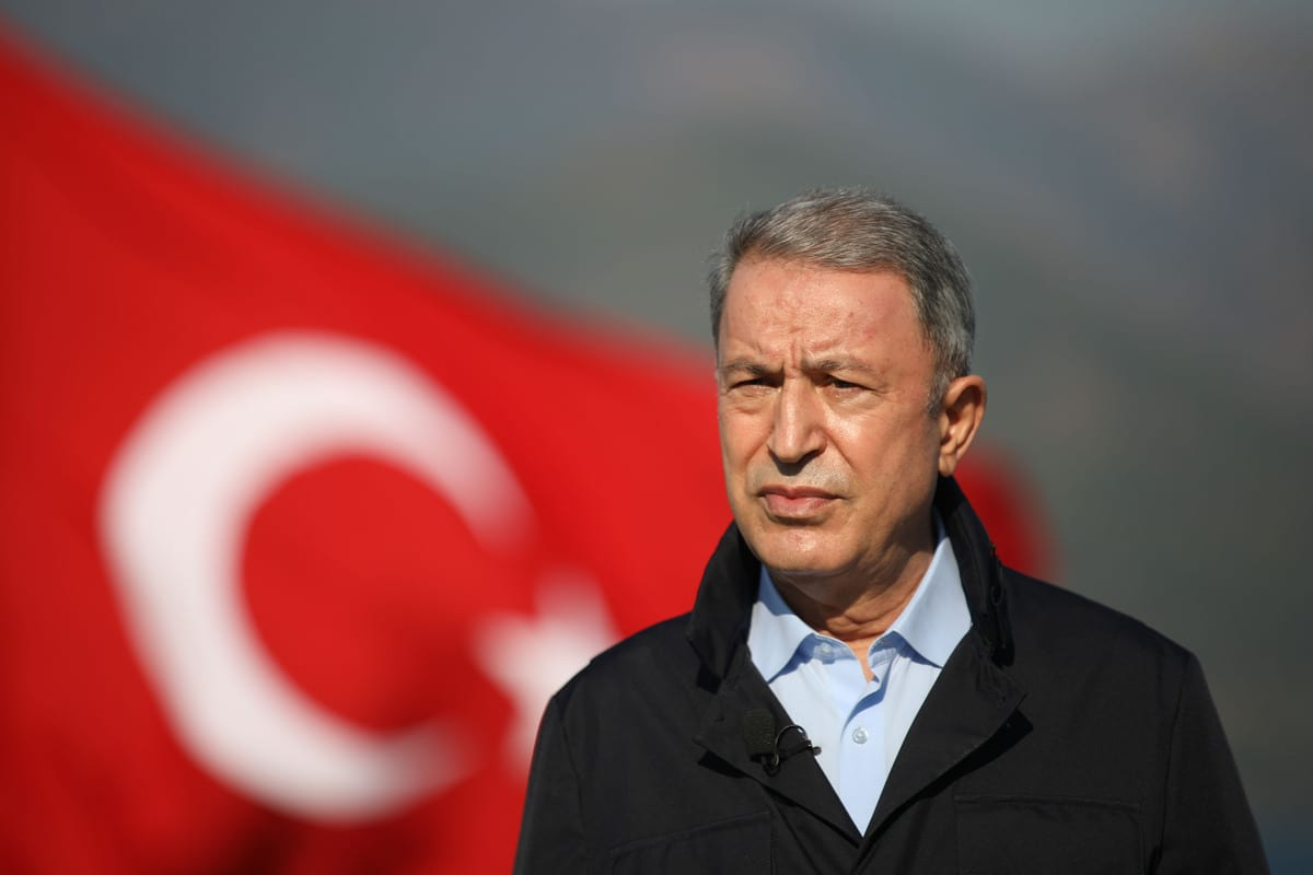 Turkish National Defense Minister Hulusi Akar in Mugla, Turkey on 22 December 2020 [Arif Akdoğan/Anadolu Agency]