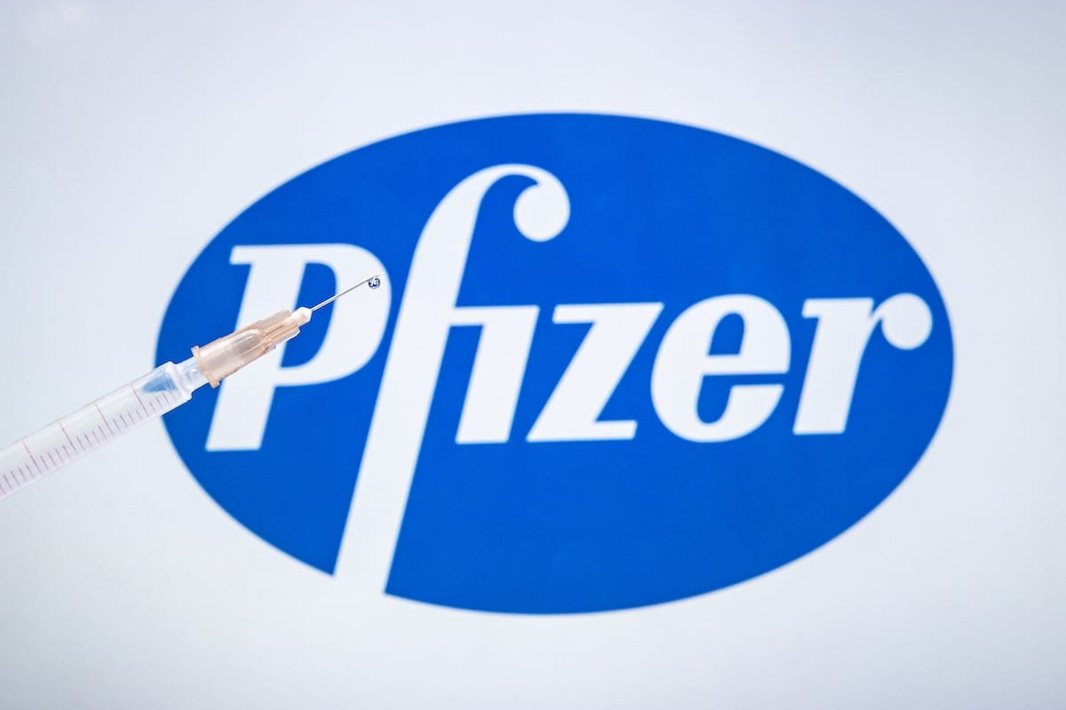 Pfizer COVID-19 vaccine logo is displayed on a screen with a syringe in the front [Ali Balıkçı/Anadolu Agency]