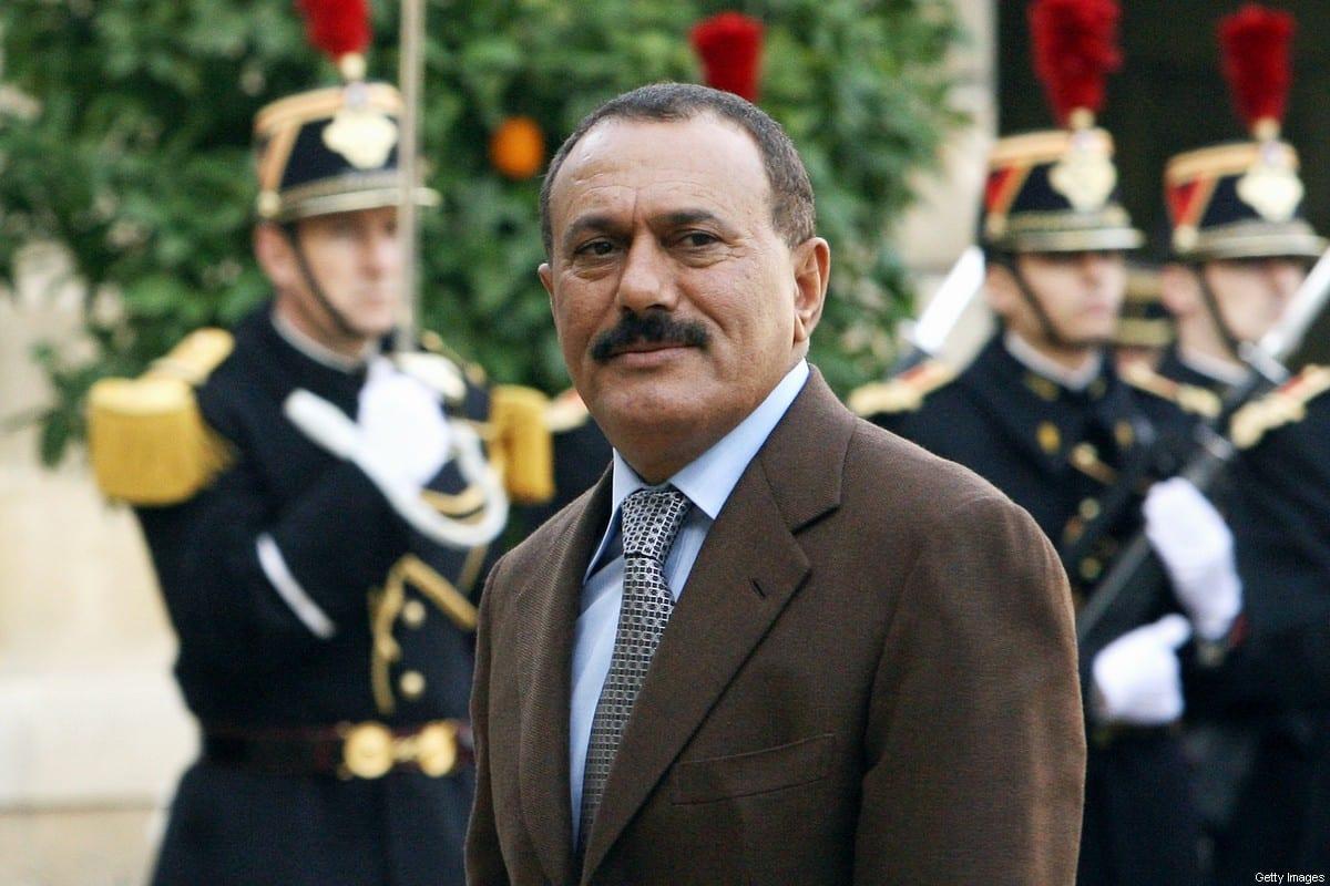 Yemeni President Ali Abdullah Saleh arrives 18 November 2006 at the Elysee Palace in Paris to meet French counterpart Jacques Chirac. [PATRICK KOVARIK/AFP via Getty Images]