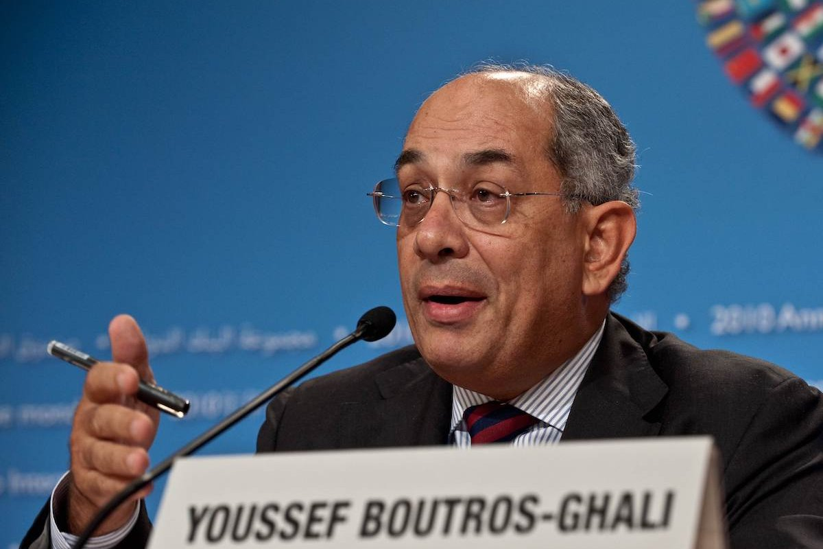 International Monetary and Financial Committee (IFMC) chair and Egyptian Finance Minister Yussef Boutros Ghali speaks to the press after the IMFC meeting during the annual IMF/World Bank meetings in Washington on 9 October 2010. [NICHOLAS KAMM/AFP via Getty Images]