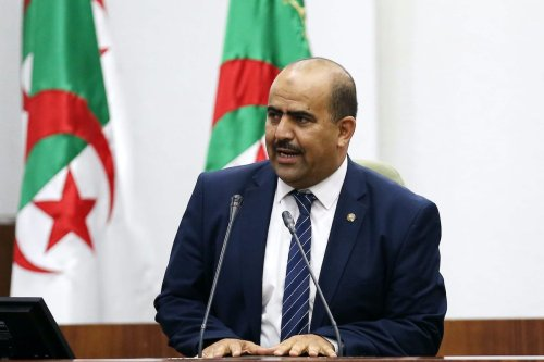 Newly elected speaker of Algeria's parliament, Slimane Chenine, leader of a parliamentary alliance of three small Islamist parties -- Ennhada, Adala and El Bina, delivers a speech late on 10 July 2019 in Algiers. [AFP via Getty Images]