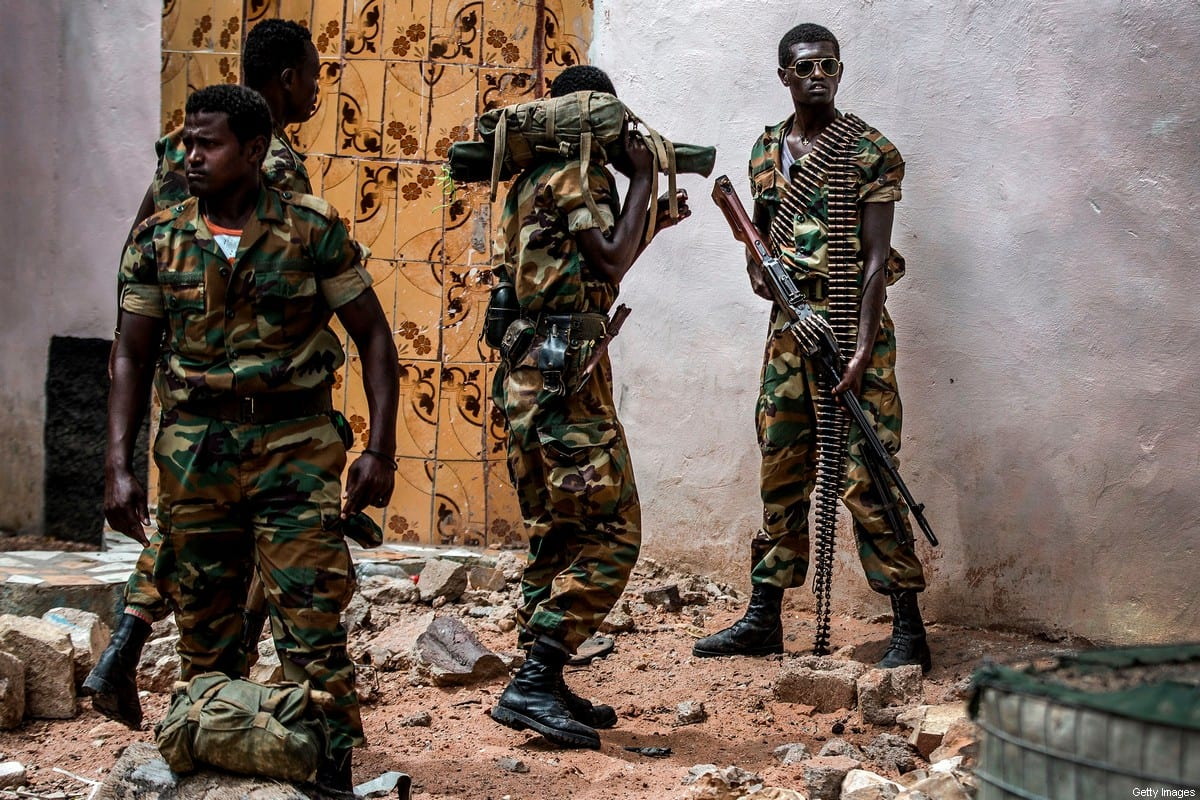 A group of heavily armed Ethiopian soldiers deployed in Somalia as part of the African Union peacekeeping mission patrol in Beledweyne, Somalia, on December 14, 2019 [LUIS TATO/AFP via Getty Images]