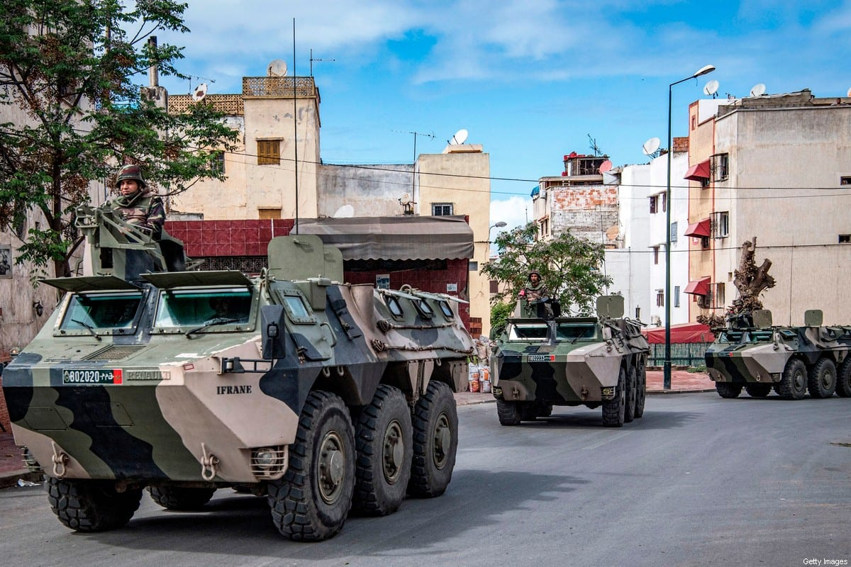 Moroccan military armoured personnel carriers (APC) in the capital Rabat on 22 March 2020 [FADEL SENNA/AFP/Getty Images]