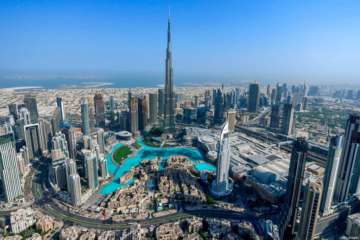 This picture taken on July 8, 2020 shows an aerial view of the Burj Khalifa skyscraper, the tallest structure and building in the world, in the Gulf emirate of Dubai, during a government-organised helicopter tour [KARIM SAHIB/AFP via Getty Images]