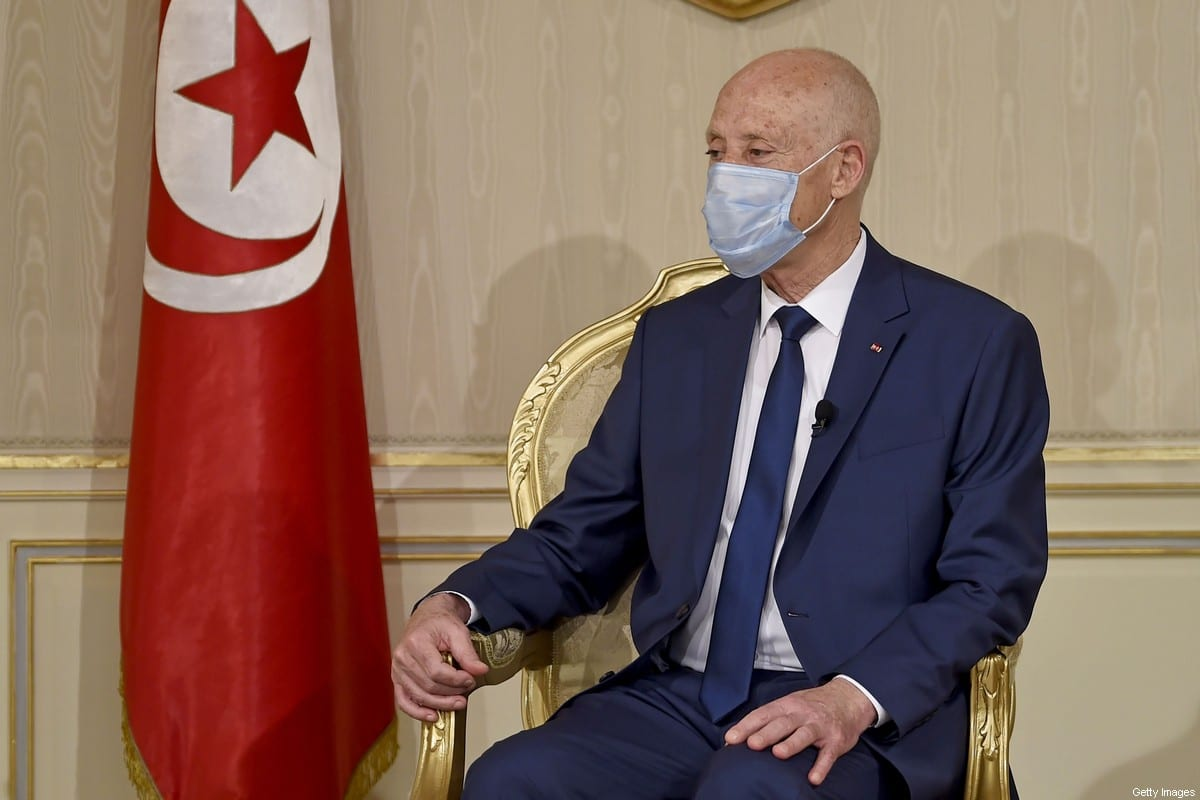 Tunisian President Kais Saied in Tunis on 12 October 2020 [FETHI BELAID/AFP/Getty Images]