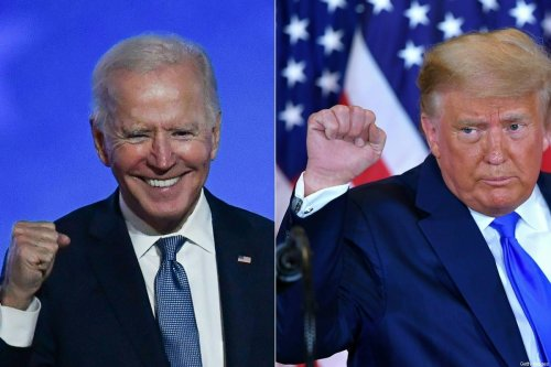 TOPSHOT - (COMBO) This combination of pictures created on November 04, 2020 shows Democratic presidential nominee Joe Biden (L) in Wilmington, Delaware, and US President Donald Trump (R) in Washington, DC both pumping their fist during an election night speech early November 4, 2020. - President Donald Trump and Democratic challenger Joe Biden are battling it out for the White House, with polls closed across the United States -- and the American people waiting for results in key battlegrounds still up for grabs, one day after the US presidential election November 03. (Photos by ANGELA WEISS and MANDEL NGAN / AFP) (Photo by ANGELA WEISS,MANDEL NGAN/AFP via Getty Images)
