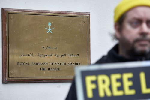 Human right activists demonstrate outside the Saudi Arabia embassy in The Hague for the release of all jailed women human rights activists in Saudi Arabia on 19 November 2020 in [The Hague, Netherlands. Pierre Crom/Getty Images]