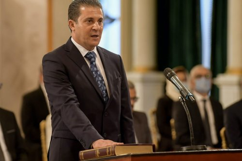 Tunisia's Minister of Environment Mustapha Laroui takes the oath of office during the new government swearing-in ceremony at Carthage Palace on the eastern outskirts of the capital Tunis on 2 September 2020. [FETHI BELAID/AFP via Getty Images]
