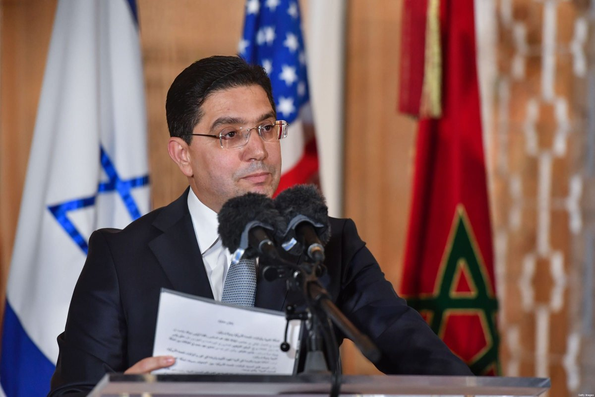 Morocco's Minister of Foreign Affairs Nasser Bourita speaks upon the arrival of the US Presidential advisor and Israeli National Security Advisor at the Royal Palace in the Moroccan capital Rabat on December 22, 2020, on the first Israel-Morocco direct commercial flight, marking the latest US-brokered diplomatic normalisation deal between the Jewish state and an Arab country. (Photo by FADEL SENNA / AFP) (Photo by FADEL SENNA/AFP via Getty Images)