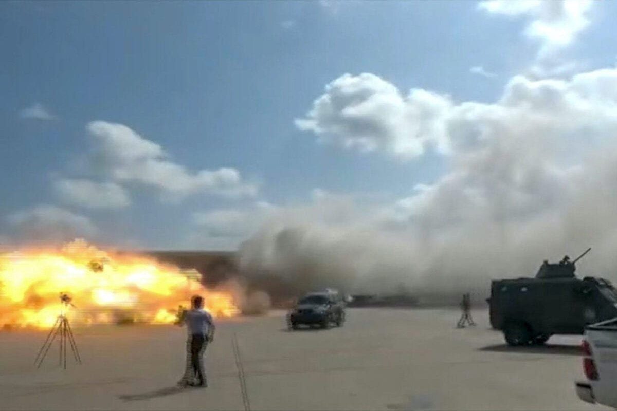 A video grab shows the moment an ordnance hit the airport in the southern Yemeni port city of Aden on 30 December 2020, shortly after the arrival of a plane carrying members of a new unity government. [AFPTV/AFP via Getty Images]