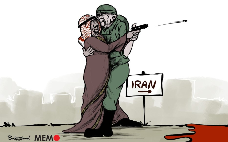 The killing of Iranian scientist Mohsen Fakhrizadeh and how Israel and Saudi Arabia might be behind it? - Cartoon [Sabaaneh/MiddleEastMonitor]