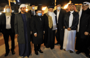 Historical lighting of the Menorah at the Western Wall in Jerusalem with a delegation from Bahrain [Adam Milstein/Twitter]