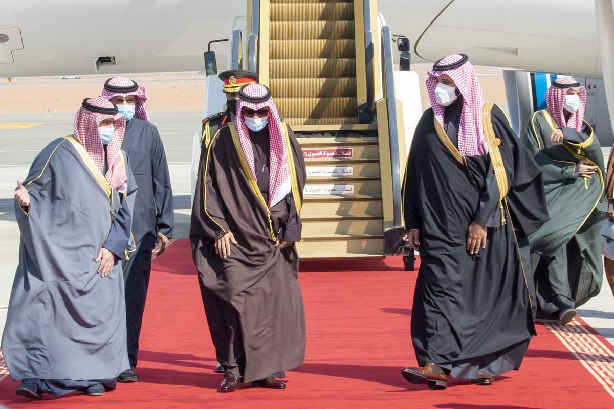 Emir of Kuwait Sheikh Nawaf al-Ahmad al-Jaber al-Sabah (2nd R) is welcomed by Crown Prince of Saudi Arabia Mohammed bin Salman (R) ahead of the 41st Summit of Gulf Cooperation Council in AlUla, Saudi Arabia on January 05, 2021 [Royal Council of Saudi Arabia/ Anadolu Agency]