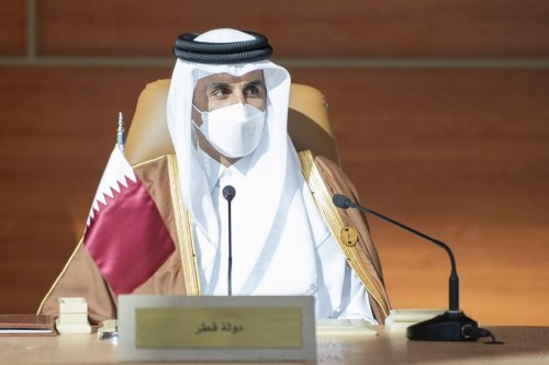 Emir of Qatar Sheikh Tamim bin Hamad al-Thani attends the 41st Summit of Gulf Cooperation Council in AlUla, Saudi Arabia on 5 January 2021. [Royal Council of Saudi Arabia - Anadolu Agency]