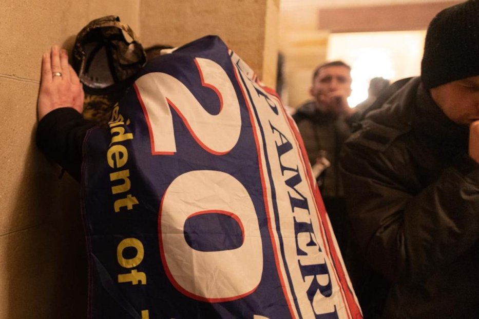 Tear gas fills the room as US President Donald Trump's supporters breach security and enter the Capitol building in Washington D.C., United States on January 06, 2021. [Mostafa Bassim - Anadolu Agency]