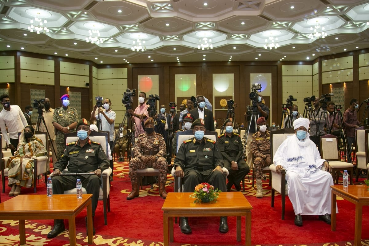 KHARTOUM, SUDAN - JANUARY 16: Chairman of the Transitional Military Council Abdel Fattah al-Burhan (C) and Prime minister of Sudan Abdalla Hamdok (R) attends a donation campaign event launched to support the army deployed on the border with Sudan and Ethiopia on January 16, 2021 in Khartoum, Sudan. ( Mahmoud Hjaj - Anadolu Agency )