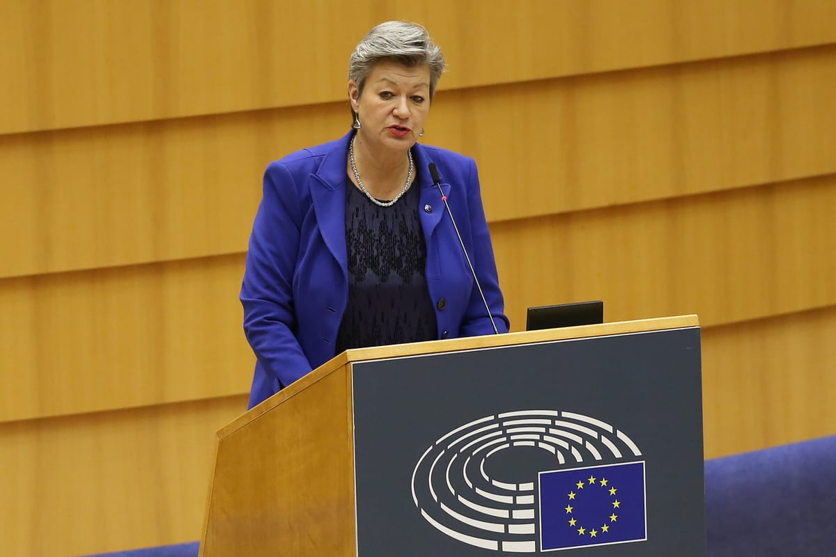EU Commissioner for Home Affairs, Ylva Johansson speaks at the European Parliament Plenary session in Brussels, Belgium on 19 January 2021 [Dursun Aydemir/Anadolu Agency]