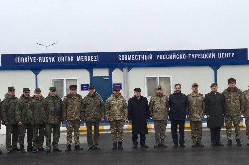 Opening ceremony of Turkish-Russian Joint Observation Center established within the scope of observing the ceasefire in Nagorno-Karabakh between Azerbaijan and Armenia in Merzili village of Agdam, which was captured by Azerbaijan from Armenia, on January 30, 2021 [Resul Rehimov/Anadolu Agency]