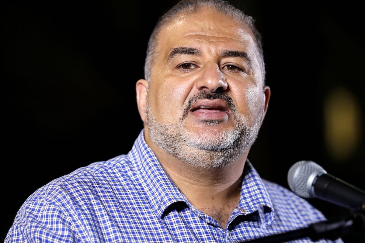 Mansour Abbas, Israeli Arab politician and member of the United Arab List, which is part of the Joint List electoral alliance, appears during a campaign rally in the northern Israeli Arab town of Sakhnin on 15 September 2019, two days ahead of the Israeli general elections. [AHMAD GHARABLI/AFP via Getty Images]
