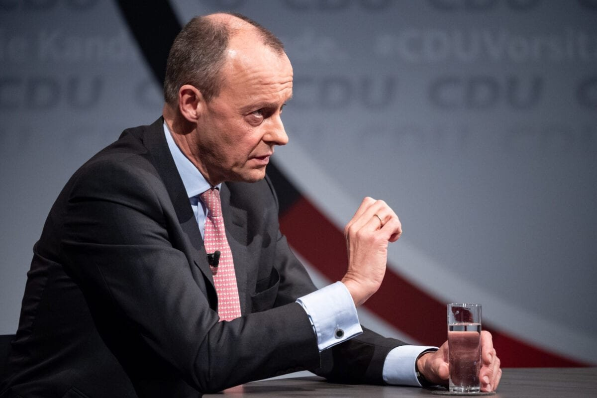 BERLIN, GERMANY - DECEMBER 14: Friedrich Merz, one of the three current candidates vying for the leadership post of the German Christian Democrats (CDU), attends a streamed question and answer session with CDU members at CDU headquarters during the coronavirus pandemic on December 14, 2020 in Berlin, Germany. The CDU is scheduled to elect a new leader in January. (Photo by Bernd von Jutrczenka - Pool/Getty Images)