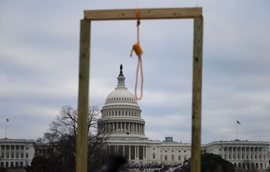 A noose is seen on makeshift gallows as supporters of US President Donald Trump gather on the West side of the US Capitol in Washington DC on 6 January 2021. [ANDREW CABALLERO-REYNOLDS/AFP via Getty Images]
