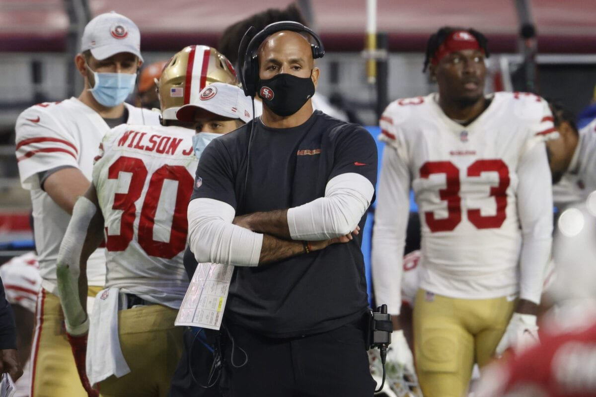 GLENDALE, ARIZONA - DECEMBER 26: Defensive coordinator Robert Saleh of the San Francisco 49ers looks on during the second half against the Arizona Cardinals at State Farm Stadium on December 26, 2020 in Glendale, Arizona. (Photo by Christian Petersen/Getty Images)