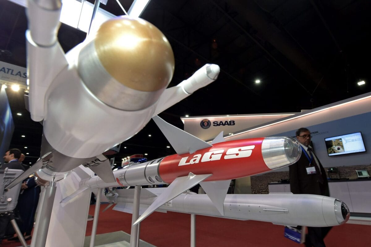 A model of the the LaGS missile manufactured by Diehl of Germany is seen during the Defense & Security 2015 exhibition in Bangkok on November 3, 2015. AFP PHOTO / PORNCHAI KITTIWONGSAKUL (Photo credit should read PORNCHAI KITTIWONGSAKUL/AFP via Getty Images)