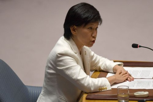 Under-Secretary-General and High Representative for Disarmament Affairs, Izumi Nakamitsu, speaks at a UN Security Council meeting on non-proliferation of weapons of mass destruction on 21 September 2017 at the United Nations headquarters in New York. [DON EMMERT/AFP via Getty Images]