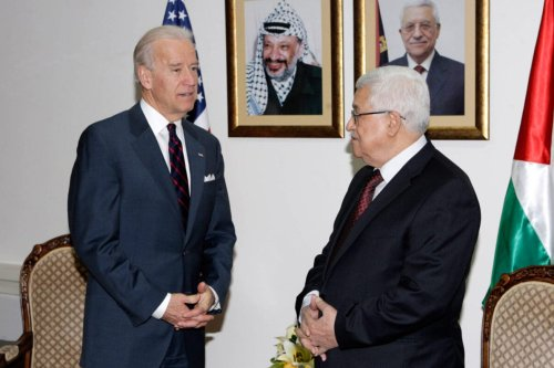 RAMALLAH, WEST BANK, MARCH 10: In this handout image provided by the Palestinian Press Office (PPO), US Vice President Joe Biden (L) meets with Palestinian President Mahmoud Abbas at the Presidential compound on March 10, 2010 in Ramallah, West Bank. American Vice-President Joe Biden is in the Middle East to meet Palestinian and Israeli leaders, including Palestinian President Mahmoud Abbas, Israeli Prime Minister Benjamin Netanyahu and Israeli President Shimon Peres, before travelling to Jordan on Thursday March 11. (Photo by Thaer Ganaim/PPO via Getty Images)