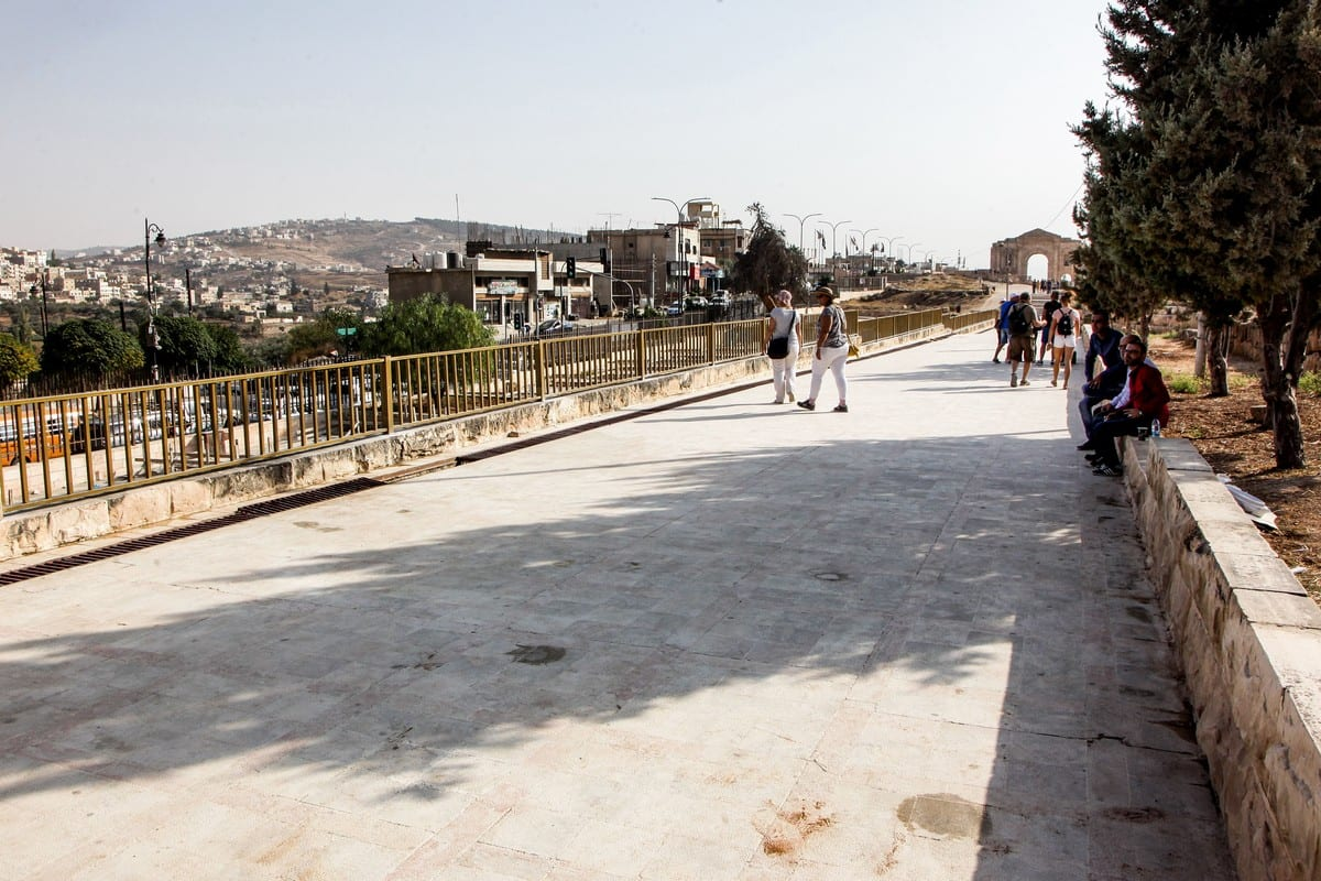 The scene where several people, including tourists were wounded in a knife attack in the site of Jerash in Jordan on 6 November 2019 [AHMAD ABDO/AFP/Getty Images]